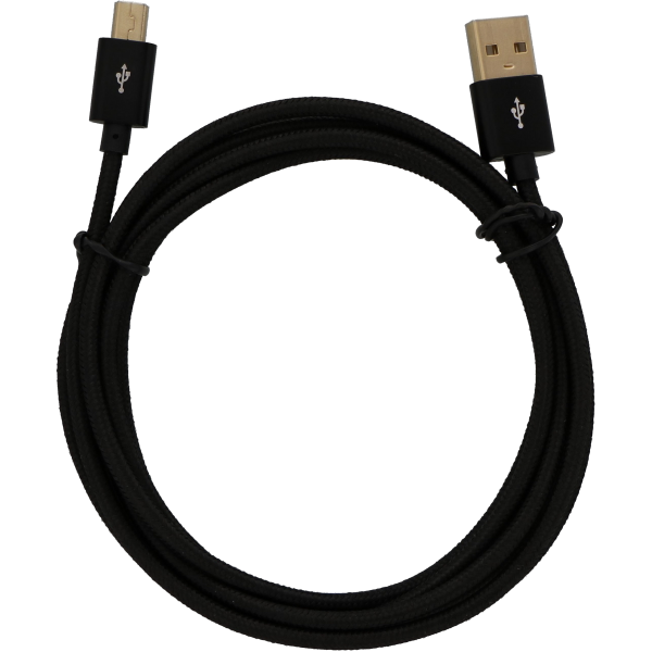 ShineBear 100pcs Mini 5pin USB Data Cable Charging Cable with Braided Shield tinned Copper 1 Meter 1.5 Meter Cable Length: 1m, Color: Black